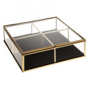 wholesale Home & Living: glass box in velvet square gold, gold