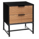 bedside table 2 drawers oria, black