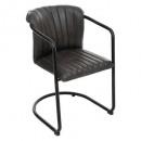silla de cuero negro kavi, negro