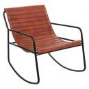 rocking chair cuir marron, marron