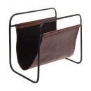 leather magazine rack, brown
