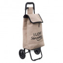 walking trolley jute, 2- times assorted , beige