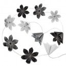 girlande 10led black flower stack, multicolored