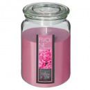 scented glass candle peony 510g, medium pink