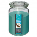 coconut glass scented candle 510g, blue