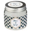 bougie parfumées verre mure + sauge 65g, bleu
