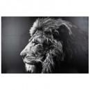 toile imprimée lion 78x118, noir & blanc