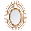 oval rattan mirror, medium beige