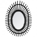 black oval rattan mirror, black