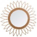 espejo de ratán con piso puntiagudo d50, beige med