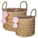 pompom basket set of 2, multicolored