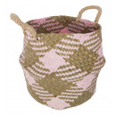 pink wicker basket, multicolored