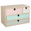 4 drawers wood storage, multicolored