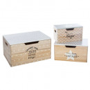 wood storage box x3, multicolored