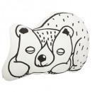 Pillow b & w beard dodo, multicolored