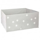 storage bin x2 gray stars, gray