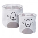 teddy bear storage bin x2, gray