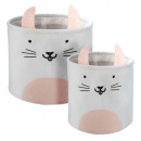 rabbit storage bin x2, pink