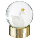 wholesale Snow Globes: snow globe swan gold d. 8 cm, multicolored