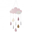 suspension nuage rose, rose