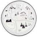 round rug mountain, black & white