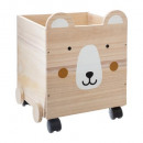 wooden chest ears teddy bear, multicolored