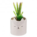 artificial flower pot fox, white