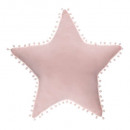 Pillow star pink, pink pompoms