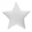Cojín estrella blanca, pompones blancos.