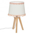 wooden stand + pompom, white