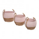 natural and pink basket x3, multicolored