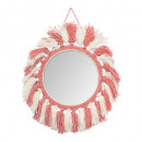 miroir ronde franges, multicolore