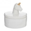 Caja cerámica unicornio, blanco
