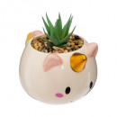 pot licorne + plante, multicolore