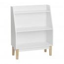 almacenamiento 3 pisos pies de madera, blanco