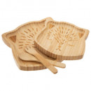 bamboo meal set 4 pcs bear, medium beige