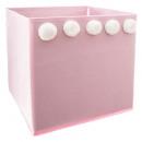 storage chest pompom x 5 pink, pink