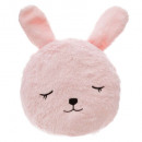 Pillow round fur rabbit, multicolored