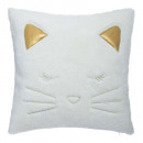 Pillow fake fur cat, white