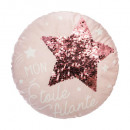 Pillow round star seq pink, pink
