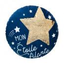 Cojín redondo estrella seq azul, azul