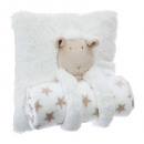 wholesale Cushions & Blankets: Pillow + plaid sheep, white