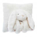 wholesale Cushions & Blankets: Pillow + plaid rabbit, white