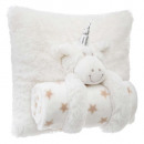 Pillow + plaid unicorn, beige