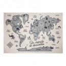 mapa del mundo alfombra, multicolor