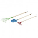 garden tools in wood and metal, 3- times assorted