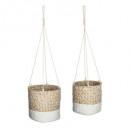 Großhandel Garten & Baumarkt: Cache Seagr Pot Teller etnik x2, weiß
