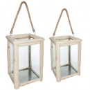 wooden lantern hiwa x2, 2- times assorted , sand