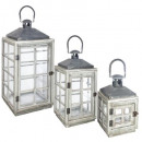 wholesale Wind Lights & Lanterns: lantern wood metal window x3, gray