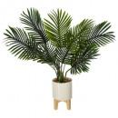 ceramic palm wood foot h72, white